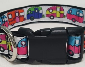 dog collar, happy camper 2, camping, travel trailer, glamping, camper, camper dog collar, camper collar, camping dog collar, camping collar