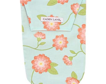 Coral Floral | Coral and Mint Floral Diaper and Wipe Holder
