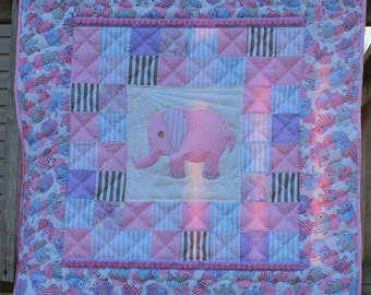 Pink Elephant Baby Girl Crib/Wall Quilt -Hand-Quilted!!