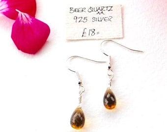 Beer Quartz Faceted Teardrop Gemstone Earrings Sterling Silver Hooks