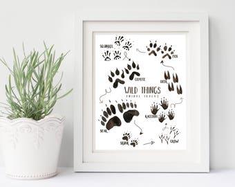 Wilderness nursery decor, wild life animal tracks printable art, 8x10