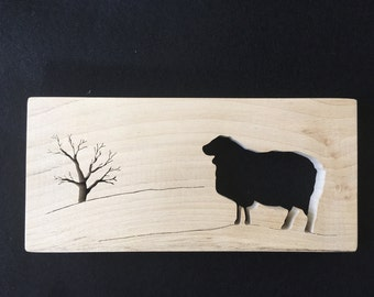 Sheep and Tree Silhouette made from Sycamore
