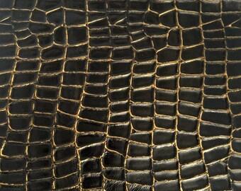Alligator Embossed Leather / Crocodile Embossed Leather / Bronze Leather / Croco Leather / Embossed Leather HIDE