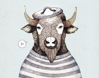 Bison In Love / 28 x 20 cm Print, Poster, Artprint, Love, Illustration, Bison