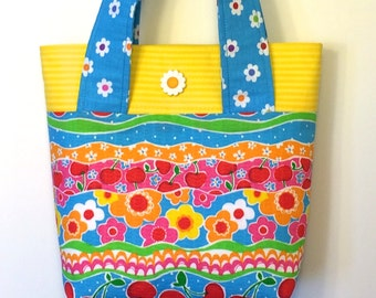 Summer Tote or Purse - Bright flowers with daisy button
