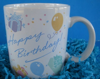 Vintage 1986 Hallmark Cards Happy Birthday Coffee Mug Multi Colored Balloons and Gifts Great  5.00  Gift