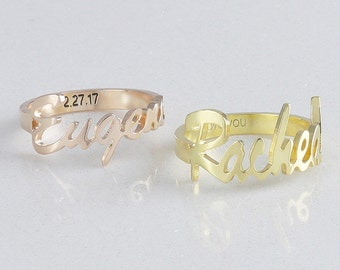 Personalized Name Ring with Engraved Band •  Message ring •  Memorial Signature Ring • Sympathy Gift • Gift for Her ( BSFT 04 )