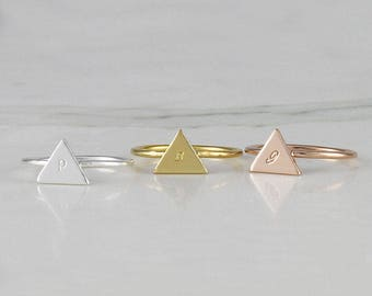 Tri-angle Initial Ring • Personalized ring • stacking ring • letter ring • customized initial ring • Sterling silver ring (HCR OD TRY)