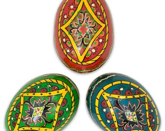 "3"" Set of 3 Wooden Pysanky Ukrainian Easter Eggs- SKU # gs-125"