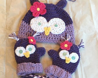 Owl winter hat and mitten set, girl owl hat, toddler owl hat, baby owl hat, purple owl hat, owl mitten