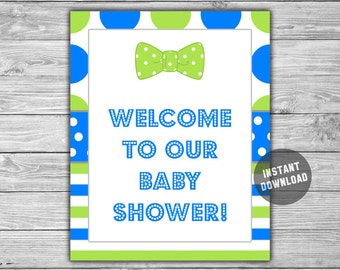 Blue - Lime Green - Bow Tie - Baby Shower - Welcome - Sign - PRINTABLE - INSTANT DOWNLOAD - Little Man - Baby Shower - 022
