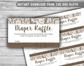 Burlap and Lace - Baby Shower - Diaper Raffle - Tickets - Cards - PRINTABLE - INSTANT DOWNLOAD - Rustic - 084