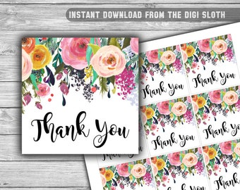 Floral - Baby Shower - Thank You Tags - Baby Shower - PRINTABLE - INSTANT DOWNLOAD - Shabby Chic Baby Shower - 075
