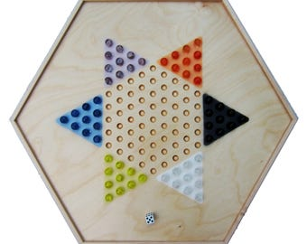 "Wooden 22"" Aggravation/Chinese Checkers 2-in-1 Combo Game Board"