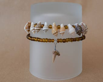 Beaded Shark Tooth Bracelet Set , Gold, Brown, Tan Bracelet, Beach Bracelet Set