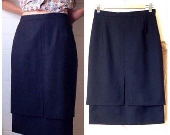 Pierre Cardin black pencil skirt vintage 80 pure Virgin wool 38 years Paris