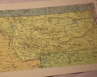 Vintage Map Print Montana