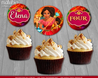 Elena of Avalor Cupcake Toppers - Disney Princess Elena 16 Custom Cupcake Toppers Birthday Party - Elena of Avalor Party Decoration