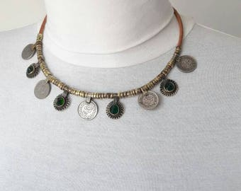 Necklace green Turkmen, free shipping