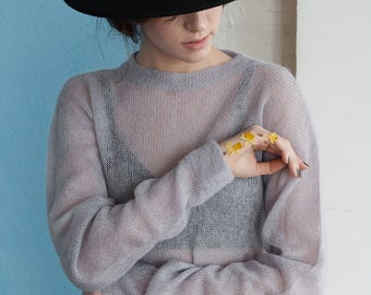 OVERSIZED MOHAIR JUMPER - hand knitted see-through wool gray fog one size