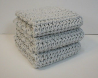 Handmade Crochet Cotton Dishcloths or Washcloths, Set of 3: Light Grey (Dishcloths2130)