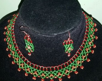 christmas color beaded necklace and earring set