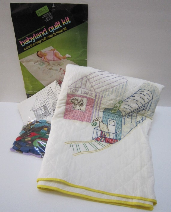 Vintage baby blanket kit quilt kits w dmc embroidery