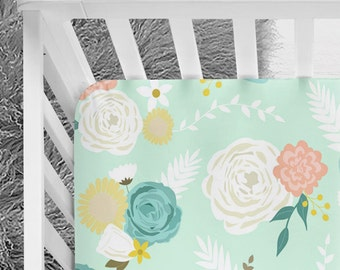 Mint floral design, Mint and coral baby bedding, Floral crib sheet, Baby girl bedding, Baby girl floral nursery, mint peony, girl crib sheet