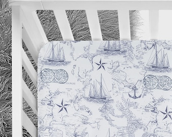 Nautical Baby bedding, crib bedding, ships, compass, baby boy, nautical bed, crib sheet, blue and white bedding