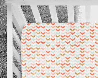Coral mint green gold baby fitted crib sheet, designed modern pattern, chevron, modern crib sheet, baby girl hip nursery crib sheet