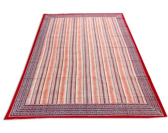 """Indian Hand Block Printed Strip Design Cotton Double Bed sheet in multicolor size 90x108"""""""