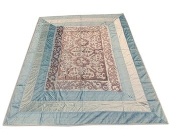 Indian Hand Made Silk Velvet Color Mughal Design Double Bed Cover 260x240 CM