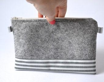 Cosmetic Bag, Hand Bag, Felt, Grey, Striped, black white