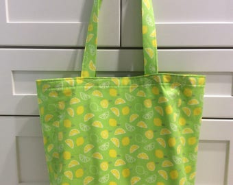 Tote Bag-Grocery Tote-Shopping Tote-Market Tote-Citrus Design Tote Bag-Reusable Grocery Bag-Recycle-Lemons-Limes
