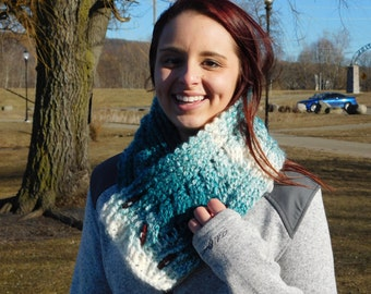 Teal and cream Crochet cable Cowl/Scarf