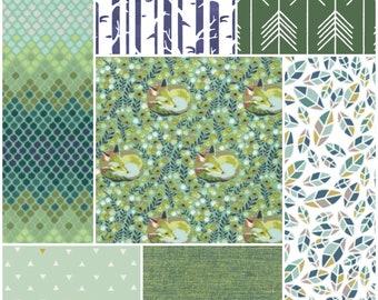 Custom vintage fox baby patchwork blanket, quilt in green
