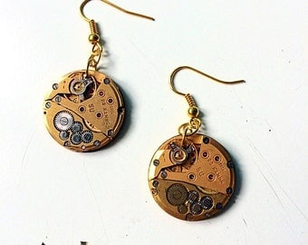 Steampunk earrings watch movement