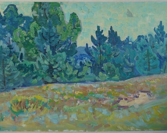 Fine IMPRESSIONISM ART Ukraine Original  landscape Oil Painting by Gaiduk V. '70