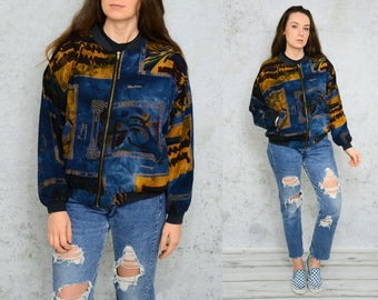 Retro Bomber jacket psychedelic 90's zippered Vintage hipsterblack blue mustard  sweatshirt shoulder pads S - M size