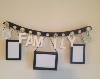 SALE Family Photo Picture Display Center from Rocking Chair Rail - 1960s White Gold flower knobs