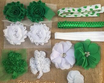 St. Patricks Day Headband Kit- Shamrock Headband Kit- 6 DIY Headbands- Baby Shower Headband Kit- Craft Show