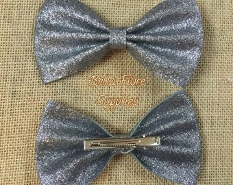 Gray Glitter Bow with Clip- 5 Inch-  Large Glitter Bow- Glitter Hair Clip- Wholesale Hair Clips