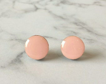 Block colour stud earrings in Pastel Pink