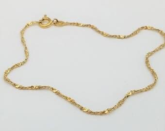 """Vintage Gold Over Sterling Silver Twisted Serpentine Chain Bracelet or Anklet- 8.5"""""""