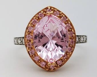 Vintage Victoria Wieck Vintage Marquise Cut Simulated Pink Morganite Sterling Silver Ring - Size 9.5