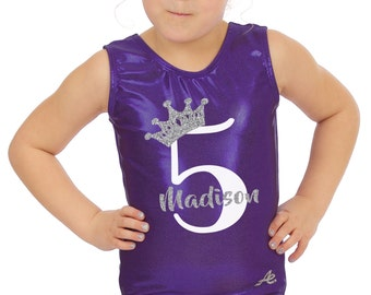Crown, name and age Birthday Gymnastics leotard with glitter