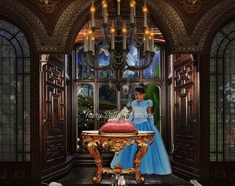 Cinderella's Glass Slipper Digital Photography Backdrop