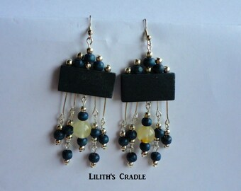 Handmade earrings with wooden navy beads and quartz