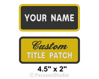 """Custom Embroidered Name Tag Sew on Patch Motorcycle Biker Badge 4.5"""" x 2"""" (A)"""