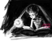 Harry Potter Fan Art, Print,children's art, illustration, magic, fantasy